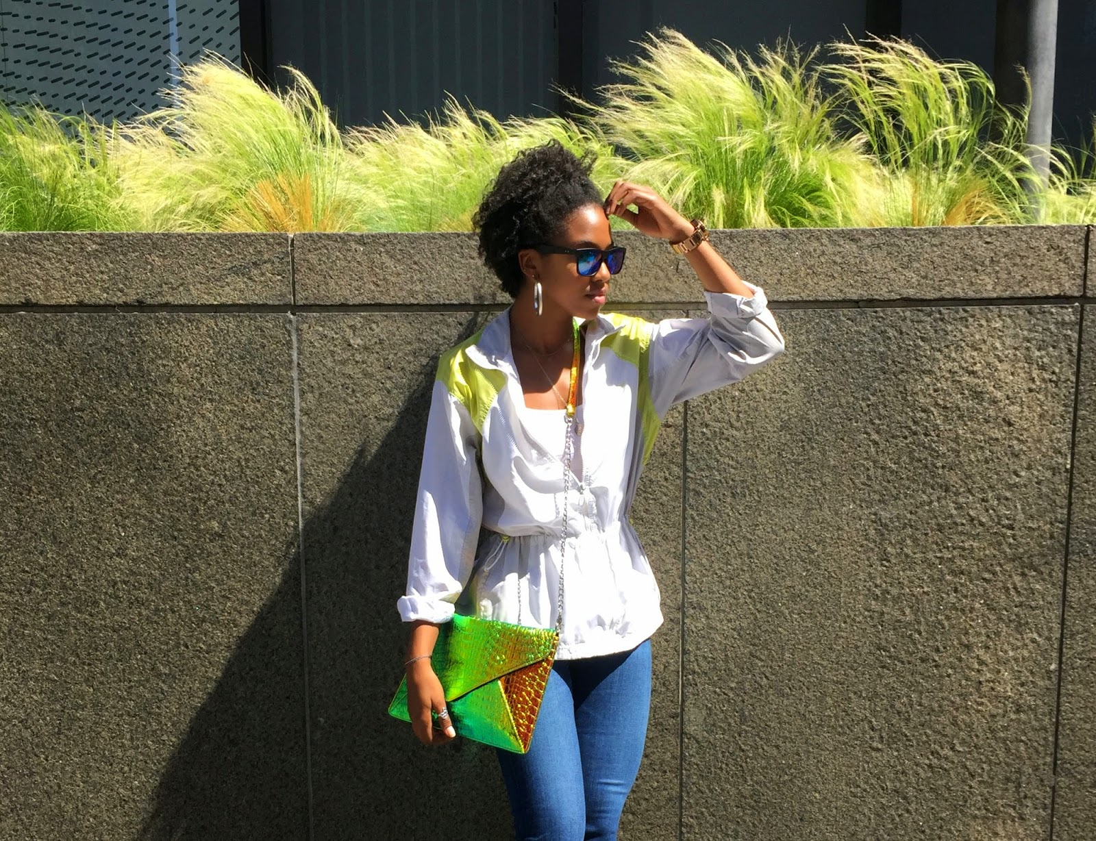 Outfit Details// Nike jacket Nasty Gal crossbody bag H&M mens sunglasses
