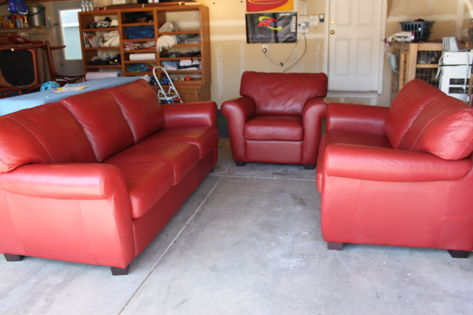 She finds retro red leather furniture for sale for Leather sofas for sale