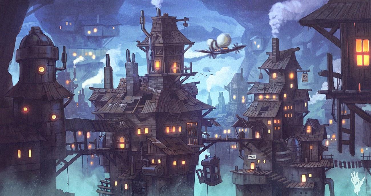 illustration de Alexander Shatohin représentant un paysage de village aux teintes bleues