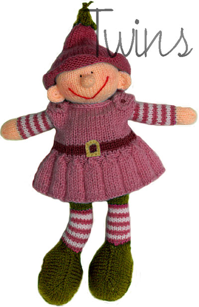 Twins Knitting Pattern Minishop Bell The Knitted Garden Elf In