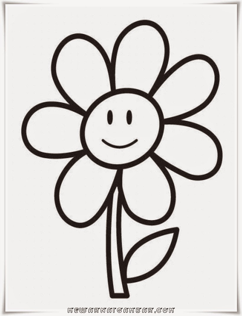 Lembar Mewarnai Gambar Bunga