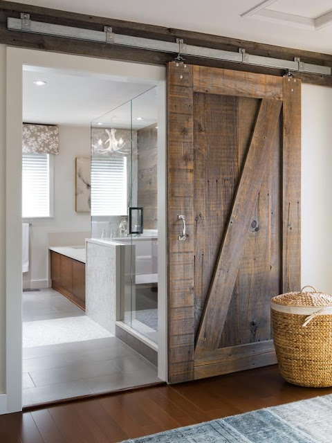 barn door at bathroom entrance