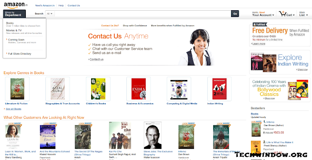 Amazon.in Launched in India : Offers free shipping