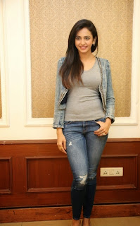 Actress Rakul Preet Singh Pictures in Jeans at Rough Movie Success Meet  60
