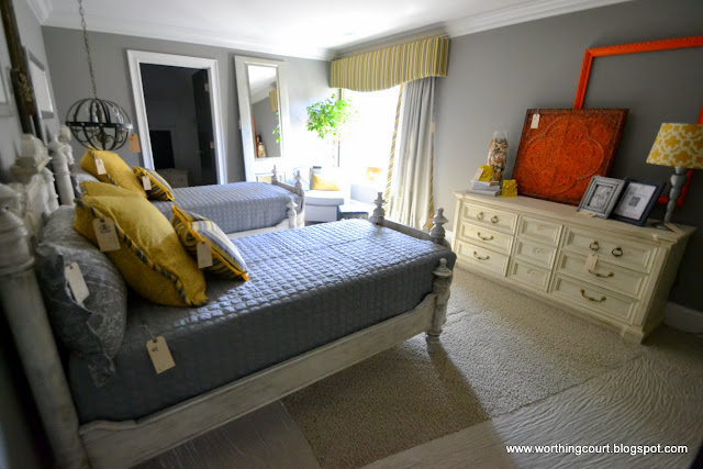 yellow and gray bedroom via Worthing Court blog