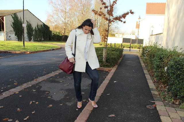 manteau blanc laine naf naf, escarpins minelli, sac zara