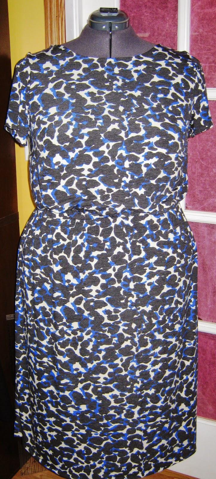 Cheetah Print Jersey Elastic Waist Dress www.sewplus.blogspot.com