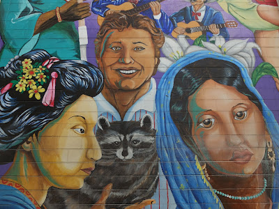 The Rainbow of Diversity Mural, Left to Right: Scenes from panels 1 -3