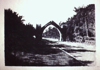 Edzell Arch, Edzell, Angus, Scotland - Charcoal by F. Lennox Campello, 1989