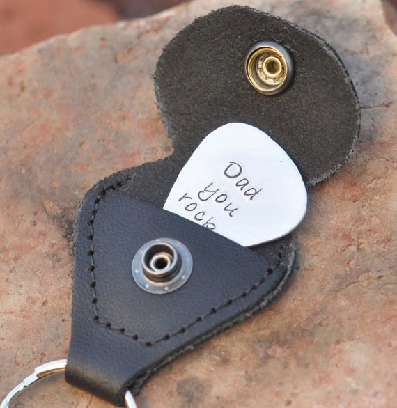 hand stamped guitar pick with leather case key chain