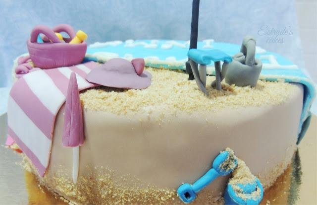 tarta playa con fondant - 3
