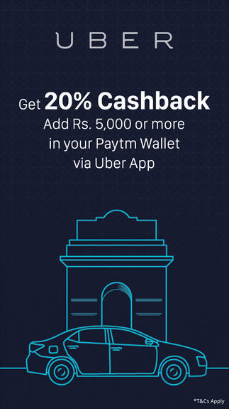 20% Cashback on Uber rides via Paytm Wallet Payment