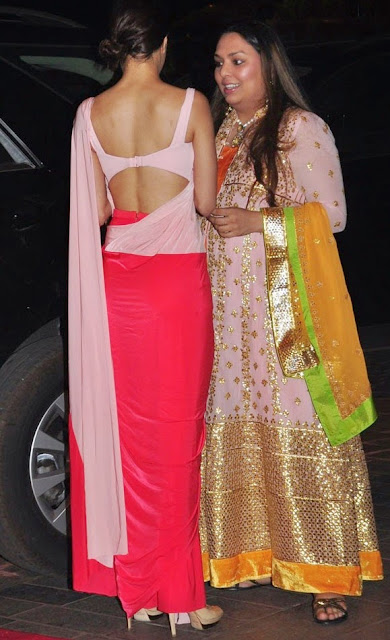 Shraddha Kapoor Looks Cute in Red Pink Saree abd Backless Blise with high Heels