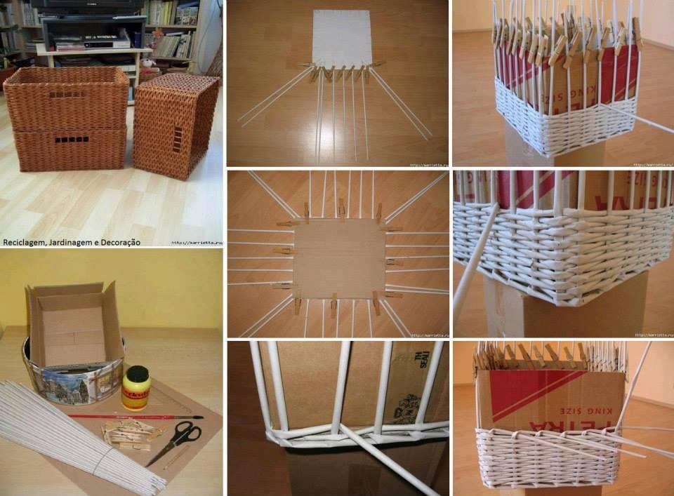Cesto entran ado como rolinhos de papel passo a passo - Reciclar cestas de mimbre ...