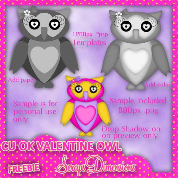 Scraps Dimensions Cu Ok Valentine Owl Template