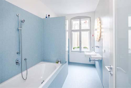 Piastrelle azzurre per bagno u boiserie in ceramica per bagno