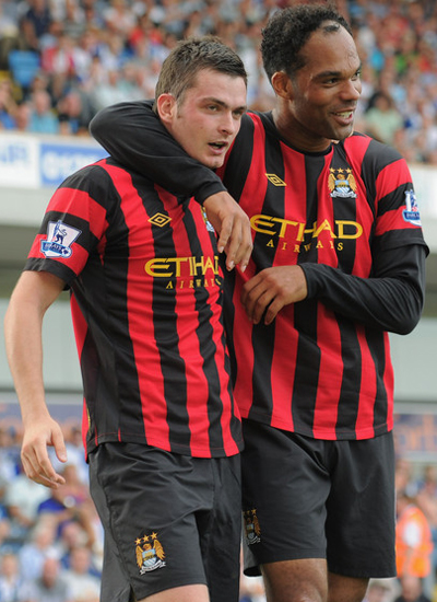 Adam Johnson with Joleon Lescott Blackburn Rovers vs Manchester City Barclays Premier League
