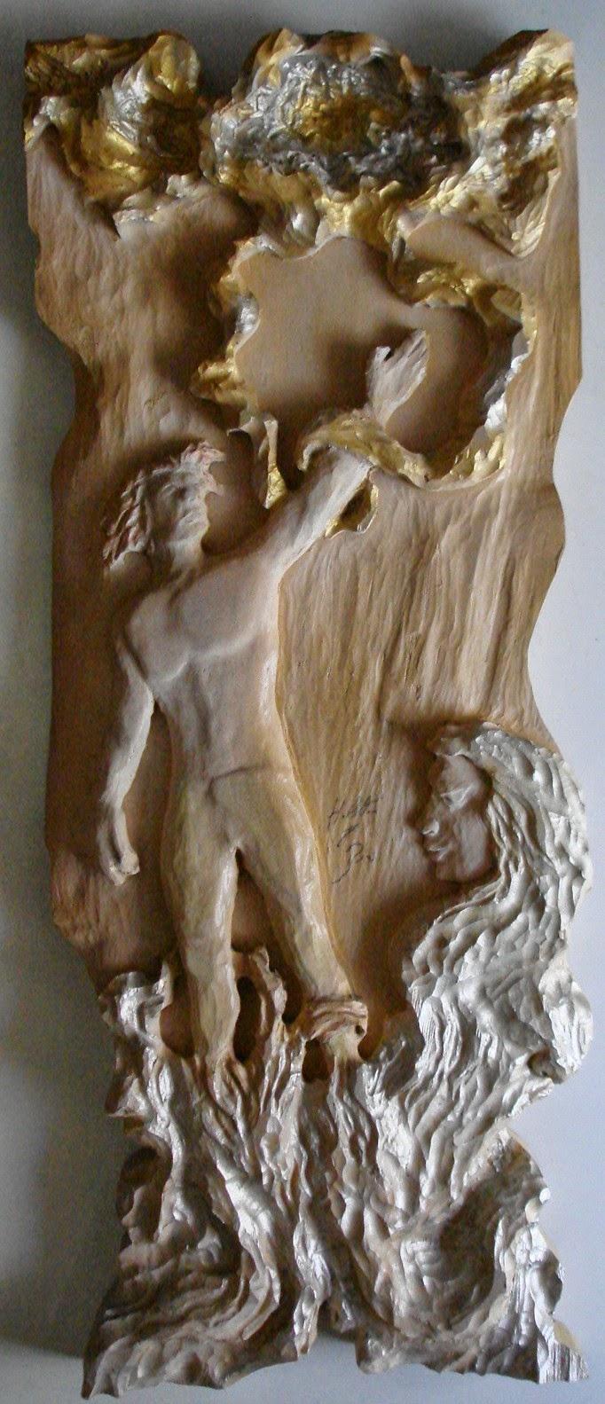 quadro entalhado em madeira