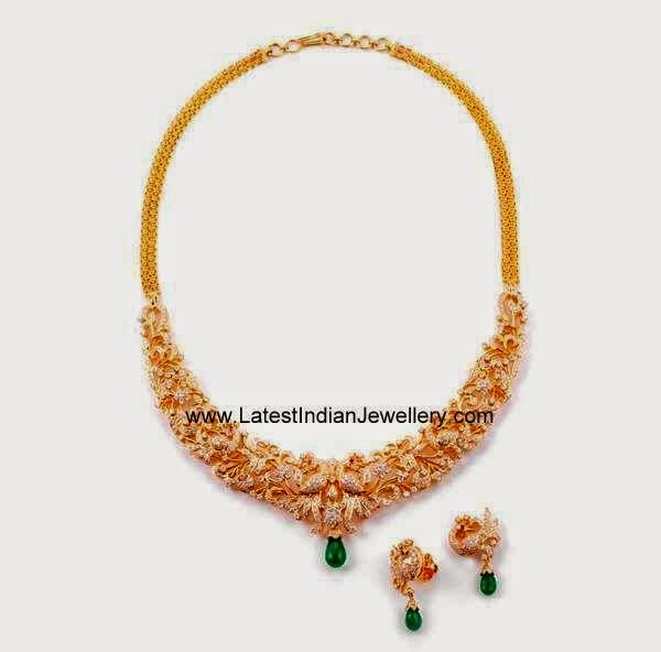 Traditional Peacock Design Diamond Necklace
