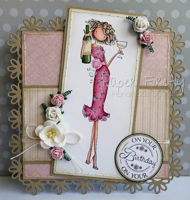 Floral girly card featuring Opal the optimist (Stamping Bella image)