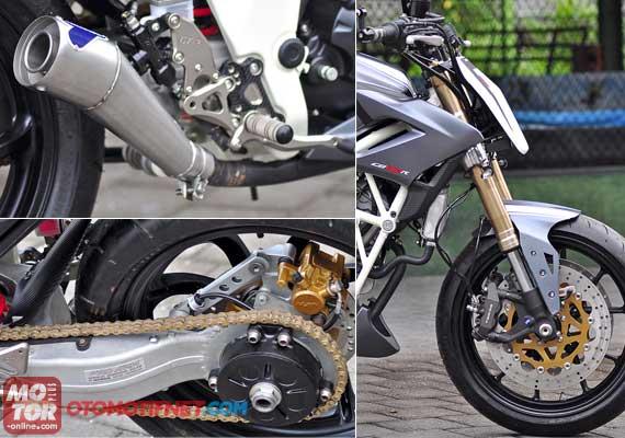 kaki-kaki terpasang seluruhnya. Modifikasi Honda CB150R Street Fighter  title=