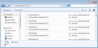 Captura parcial de ficheros trampa cifrados.