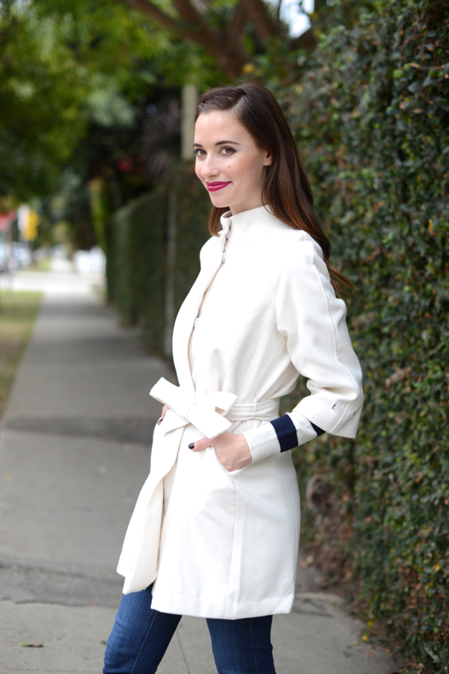 white coat and striped sweater via M Loves M @marmar