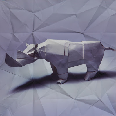 animal rinoceronte de origami 3D
