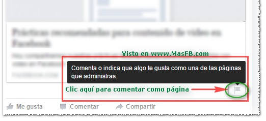 Comentar como página en Facebook - MasFB