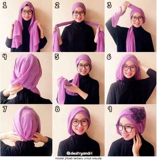 Berikut Tutorial Hijab Silang Tumpuk Untuk Acara Wisuda :