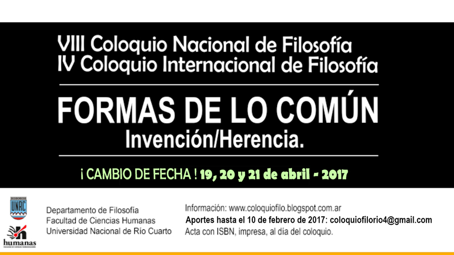 - VIII COLOQUIO NACIONAL DE FILOSOFÍA - IV COLOQUIO INTERNACIONAL DE FILOSOFÍA