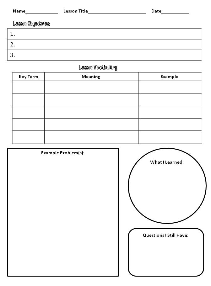 note taking templates for kids a note taking template for