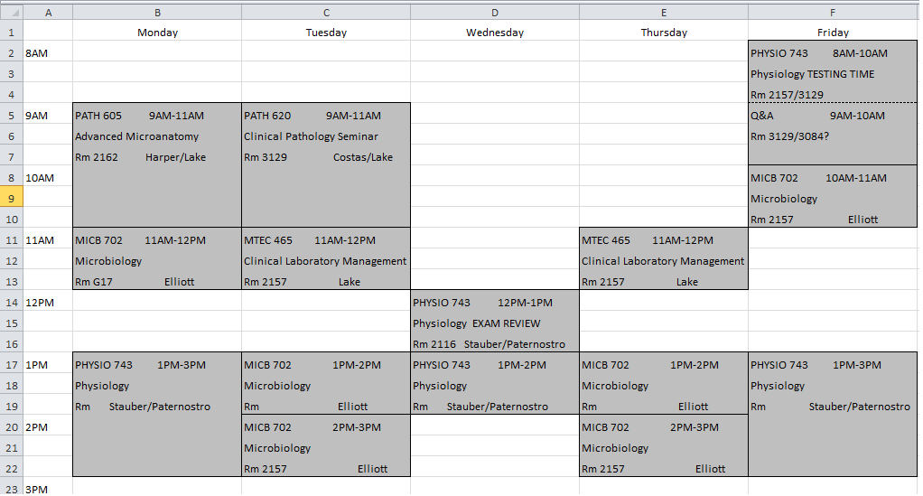 week schedule template excel