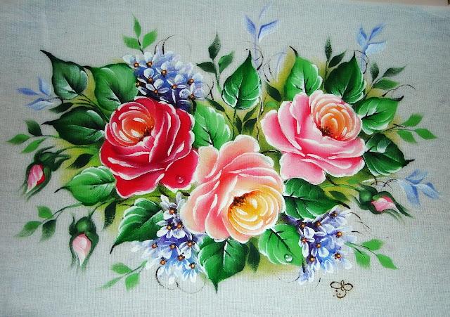 Pintura em Tecido Rosa Azul - YouTube