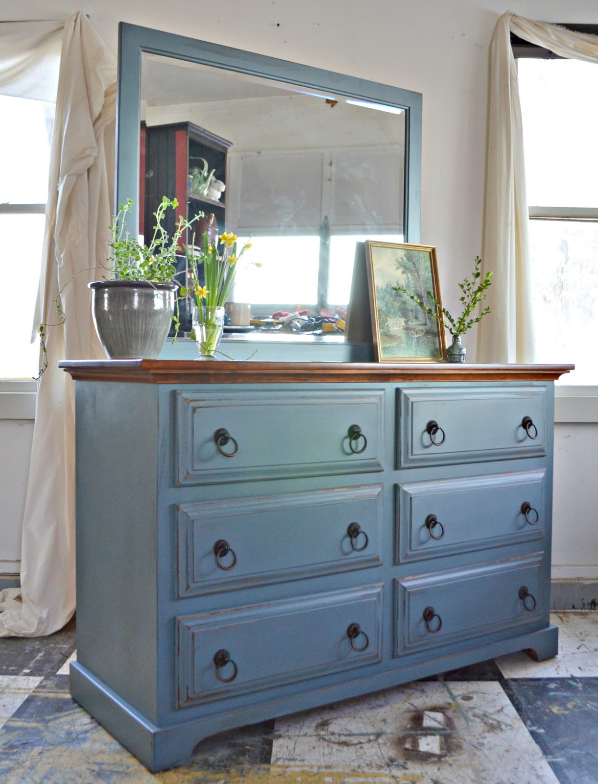 Heir and Space: A Pine Dresser in Slate Blue