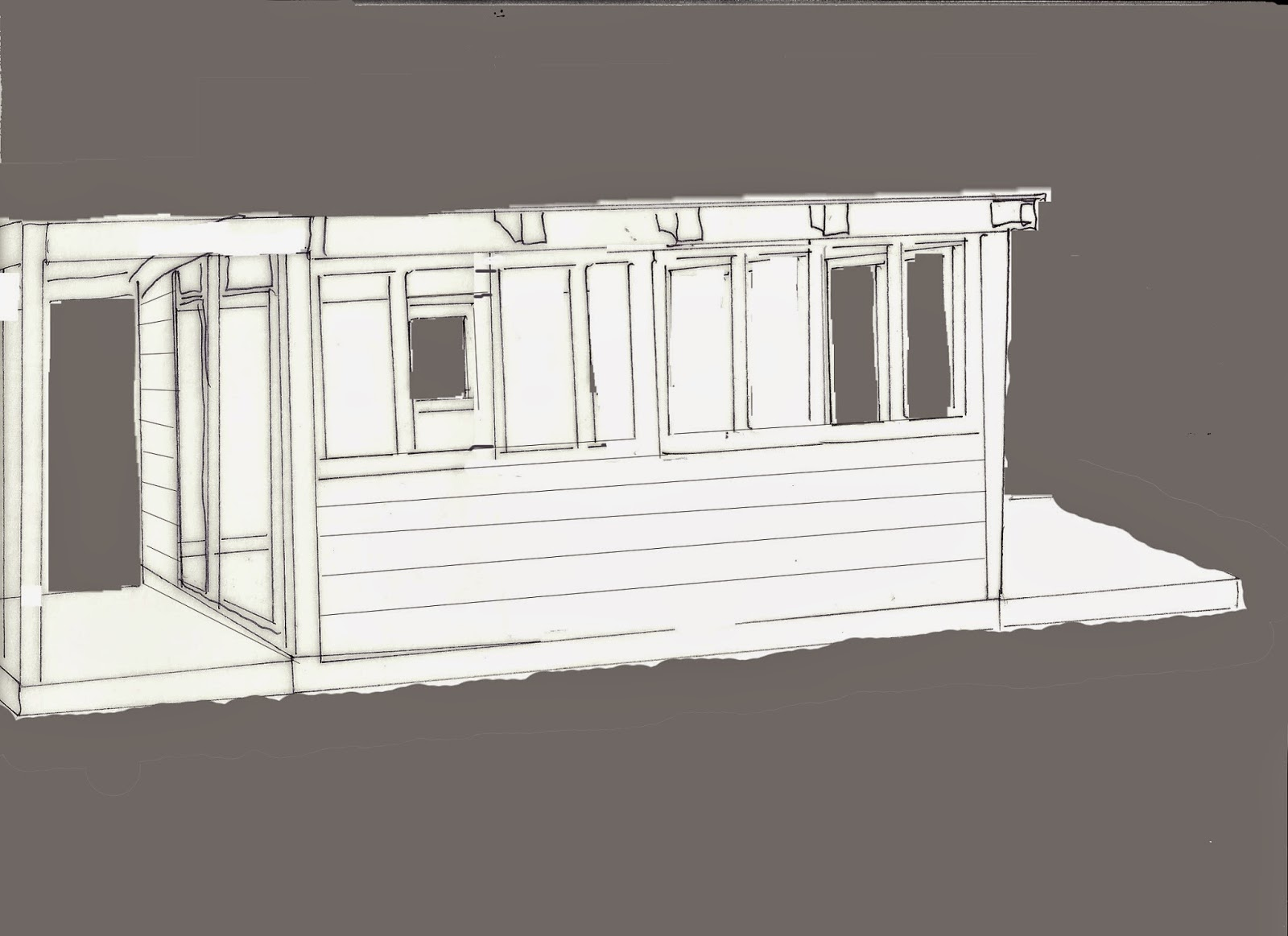 Outline of a shed split down the middle ,with two windows on each side of the front, weatherboarding,  and a deck on each side. The background is coloured grey to show placement of windows and doors at the side and rear.