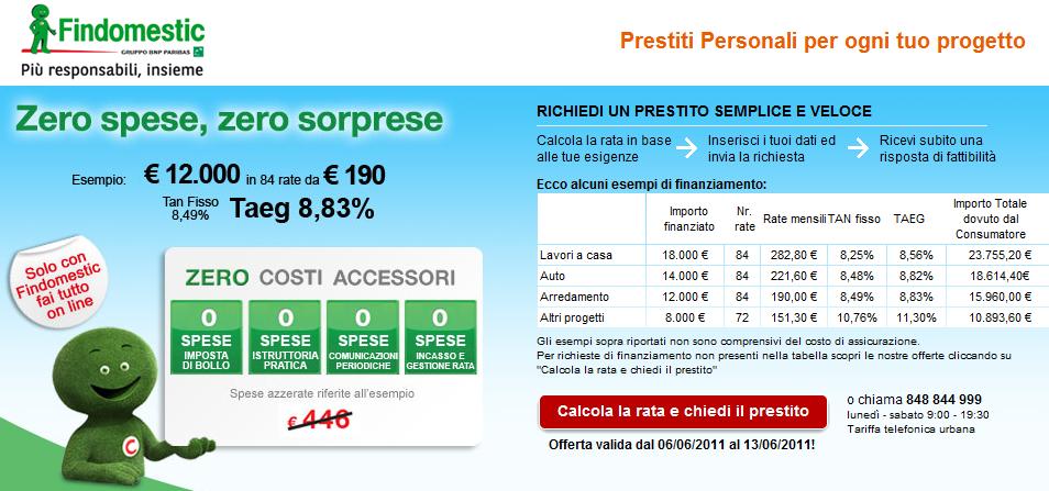 Findomestic Prestito Zero Spese