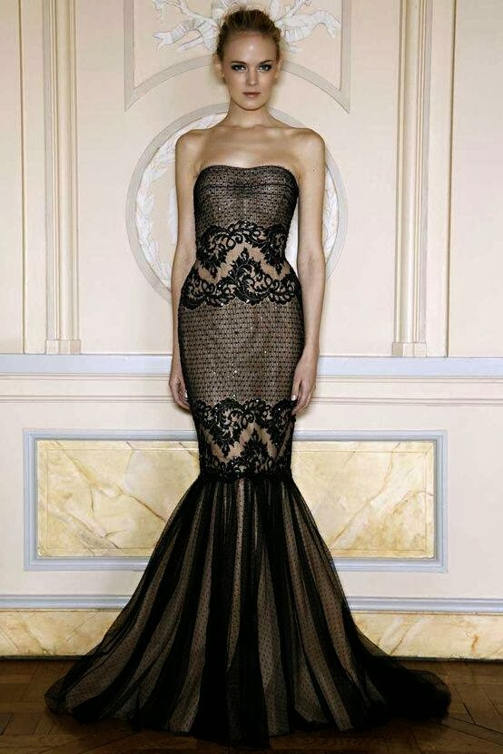 Adorable, Black and Beige Color, Long Evening Dress for Ladies, Love It