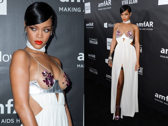 Tom Ford 2015 SS Nipples Sparkle White Maxi Dress on Red Carpet