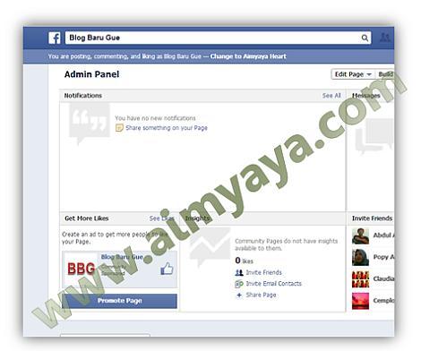 Gambar: Halaman (page)Facebook yang baru dibuat