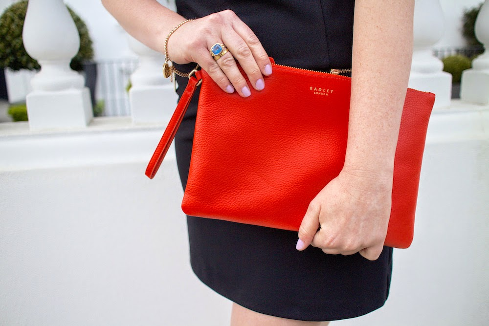radley golden square clutch bag in orange ss15