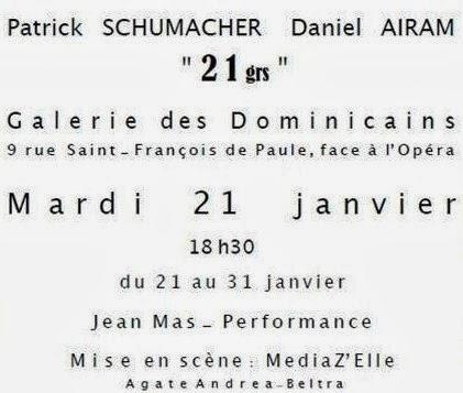 Jean MAS, PERFORMAS «A VENDRE»,Galerie des Dominicains, NICE, 21 janvier 2014 à 18H30