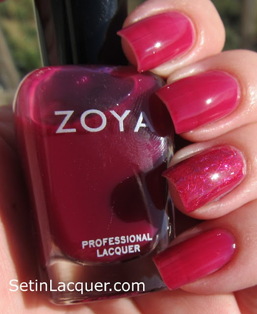 "Zoya Paloma with a ""jelly sandwich"" of Kissy accent nail - Sunlight"