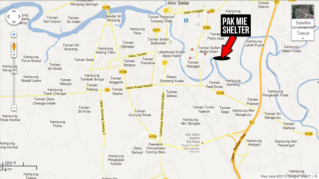 Pak Mie Shelter Contact - Alor setar map