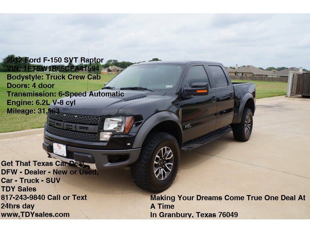 Used 2012 Ford F 150 SVT Raptor Tuxedo Black Truck   TDy Sales
