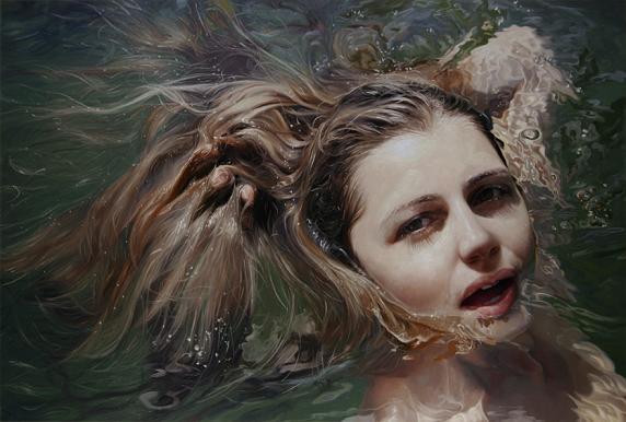 alyssa monks pintura hiper realista pessoas tomando banho