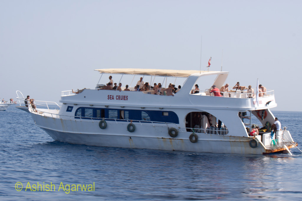 Tourist ship in Sharm el Sheikh, full of tourists enjoying the trip