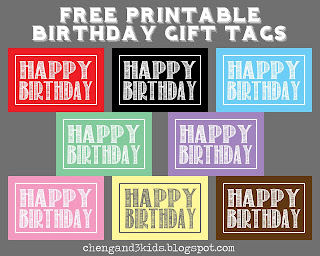 Happy Birthday Gift Tags Free Printable by Cheng and 3 Kids