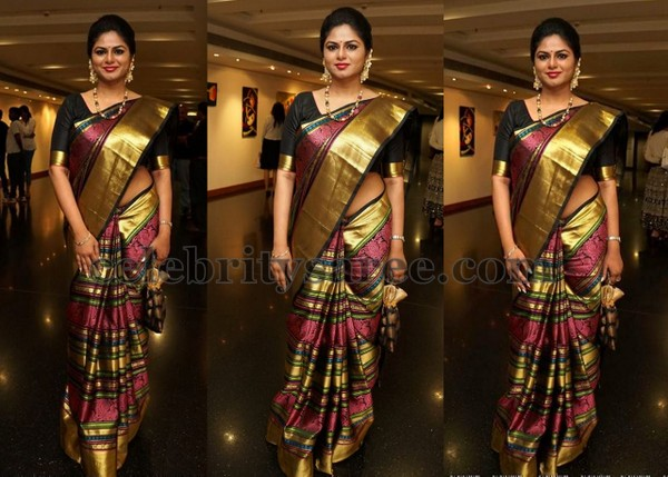 Black Pink and Gold Stripes Saree