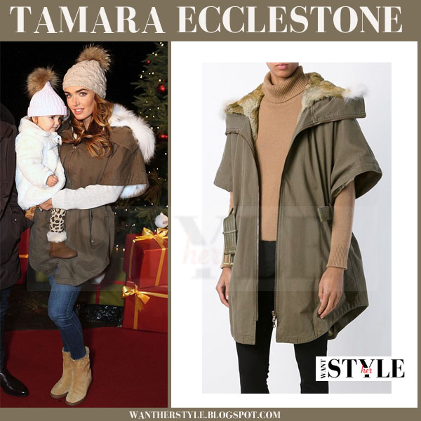 Tamara Ecclestone in khaki green canvas yves salomon parka with fur trim what she wore winter style